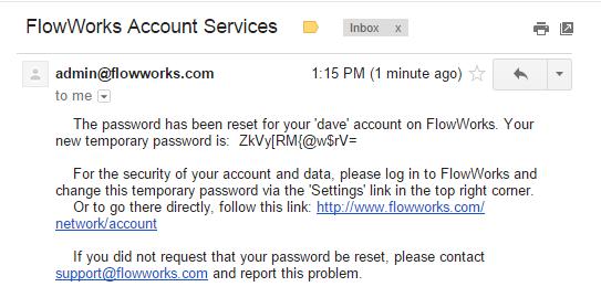 Screenshot of Password Reset Email